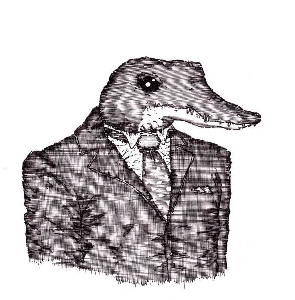 crocodile in suit