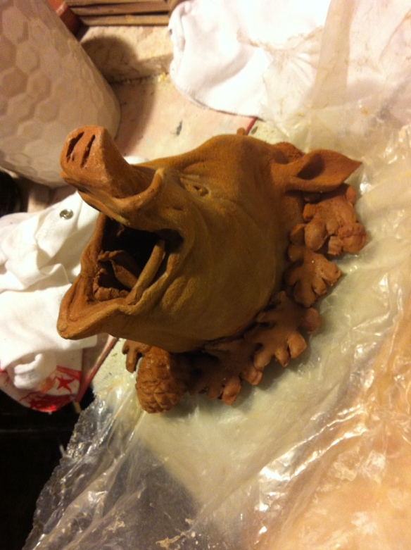 ceramic boar head