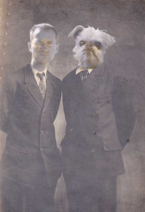 photoshopped old time picture with dog