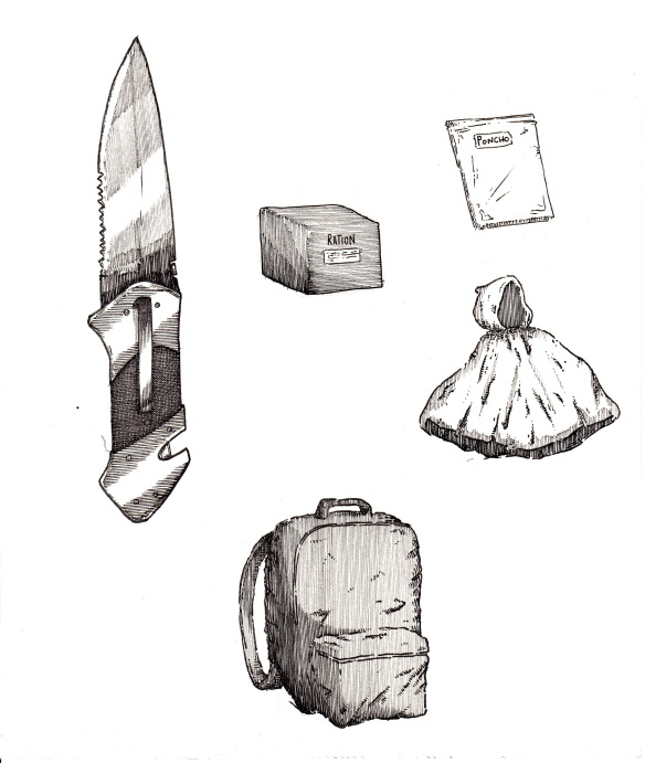 knife and other items