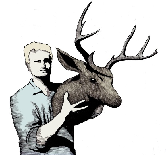 man holding deer head