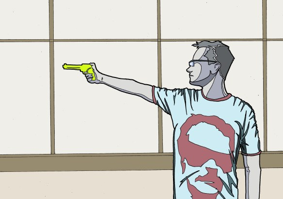 man holding squirt gun